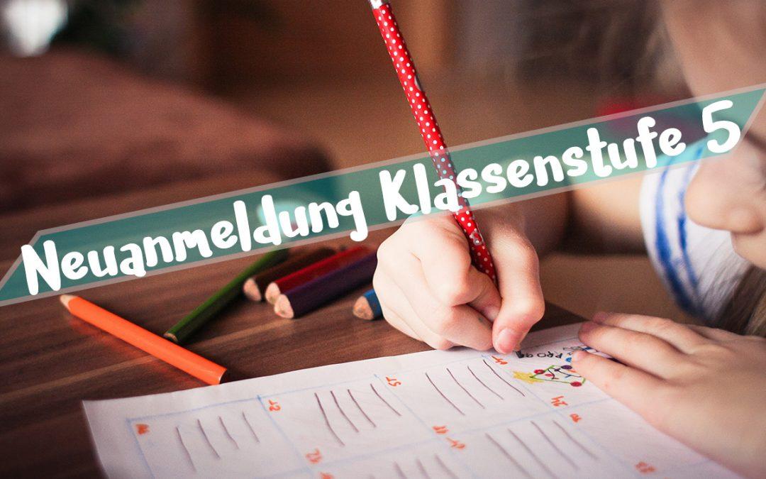 Anmeldung Klassenstufe 5 Schuljahr 2019/20